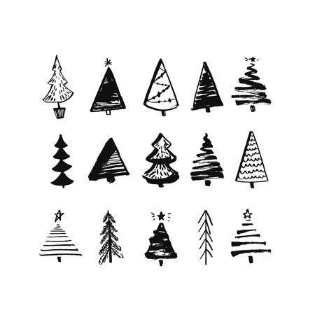 spruce: Hand drawn christmas tree. Set of sketched illustrations of firs. Black ink and brush sketches of spruce for cards and package design. Vector elements