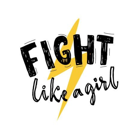 Strijd zoals een meisje typografie poster met gele bliksemschicht teken. Feminisme slogan. Vector belettering.