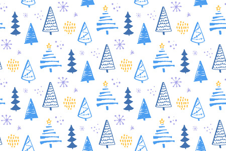 Winter forest seamless pattern with hand drawn christmas trees. Vector background for wrapping paper and christmas designs.