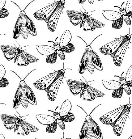Motte nahtlose Muster. Hand gezeichnete Illustration von fliegenden Insekten. Schwarz-Weiß-Skizzen