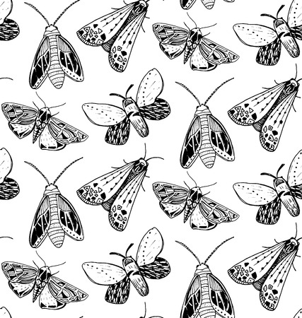 Moth seamless pattern. Hand drawn illustration of flying insects. Black and white sketches Illustration