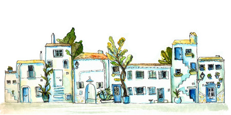 White and blue town street with small houses and trees. Watercolor painting, urban sketch