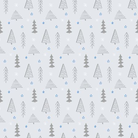 tree texture: Winter seamless pattern. Vector texture with christmas tree and snowflakes. Hand drawn forest background. Illustration