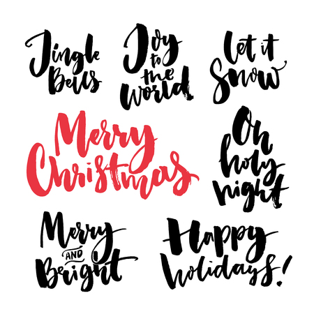 Merry Christmas text and seasonal greetings. Handwritten brush calligraphy words for greeting cards and gift tags. Christmas wishes set: merry and bright, happy holidays, joy to the world, let it snow. Black vectors on white