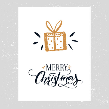 gist: Merry Christmas card. Minimalistic design with hand drawn gift icon and ornate calligraphy text