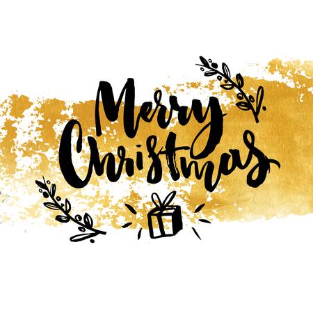 Vrolijk Kerstkaartontwerp met gouden verfslag en kalligrafietekst.