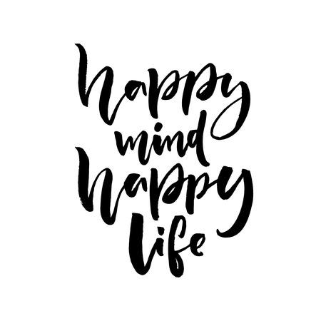 alegria: mente feliz, vida feliz. dicho positiva sobre la felicidad y el estilo de vida. letras cepillo de diseño de la cita.