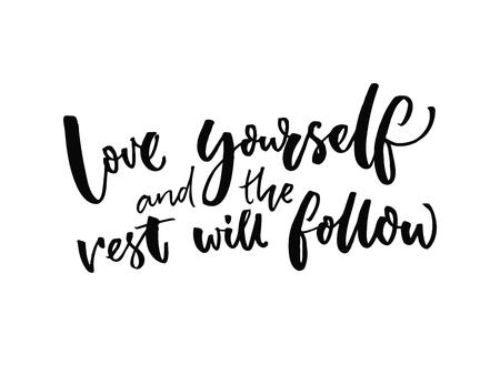 Amare se stessi e il resto seguirà. citazione ispirazione circa la stima di sé e l'atteggiamento. Vector ispirazione dicendo.