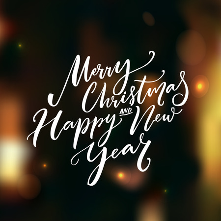 Merry Christmas and Happy New Year calligraphy text on dark vector background with lights and bokeh. Greeting card design with typography