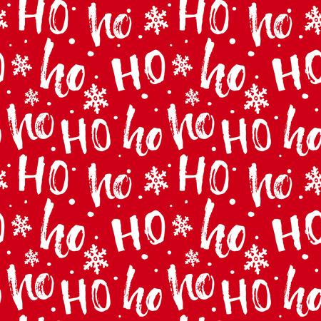 Hohoho-Muster, Weihnachtsmann lachen. Nahtlose Textur für Weihnachten Design. Vektor roter Hintergrund mit handschriftlichen Worten ho. Vektorgrafik
