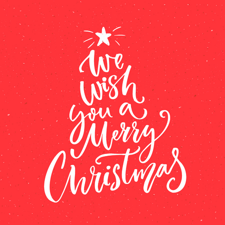 letras musicales: We wish you a Merry Christmas text. Calligraphy text for greeting cards on red background.