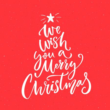 Wir wünschen Ihnen ein frohes Weihnachtsfest Text. Kalligraphie Text für Grußkarten auf rotem Hintergrund.