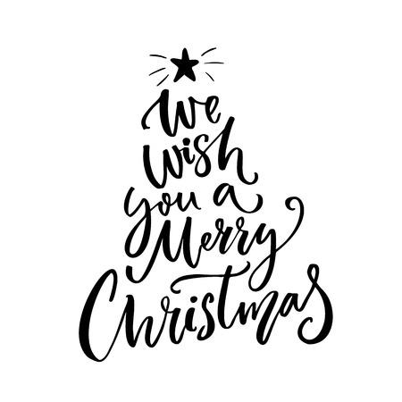 우리는 당신에게 메리 크리스마스 인쇄술을 기원합니다. 인사말 카드 텍스트입니다. 선물 태그 및 오버레이에 대한 브러시 벡터 레터링. 일러스트