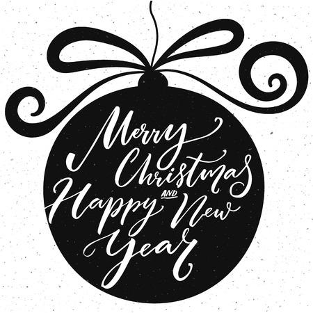 letras musicales: Feliz Navidad y un texto caligrafía feliz año nuevo. Diseño de la tarjeta con la tipografía.