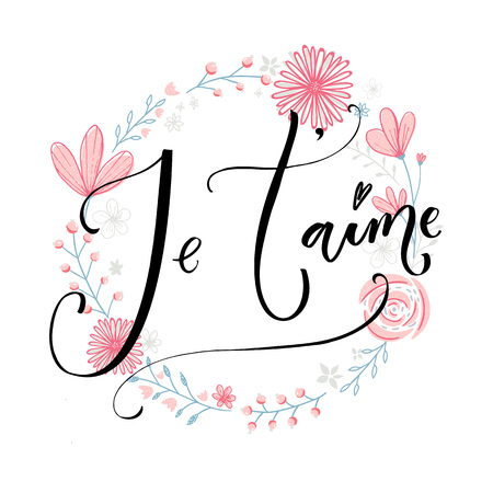 i love paris: Jetaime. French phrase means I love you. Romantic quote, modern calligraphy. Vector quote on pibk flowers wreath.