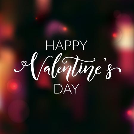 happy valentines day: Happy Valentines day. Modern calligraphy text on blur dark background