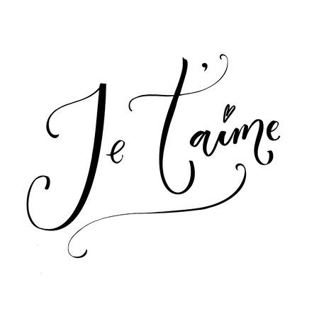 Ik hou van jou. Franse uitdrukking betekent dat ik van je hou. Romantisch citaat, moderne kalligrafie. Vectorcitaat dat op witte achtergrond wordt geïsoleerd.