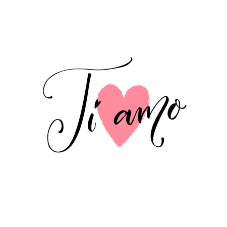 Ti amo. I love you in Italian language. Modern calligraphy saying on pink heart symbol. Valentines day card. Vector design with lettering