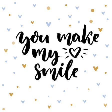 あなたは私の心の笑顔を作る。バレンタインの日カードの言っている心に強く訴える。青と金色の心と繊細な背景上のタイポグラフィ。