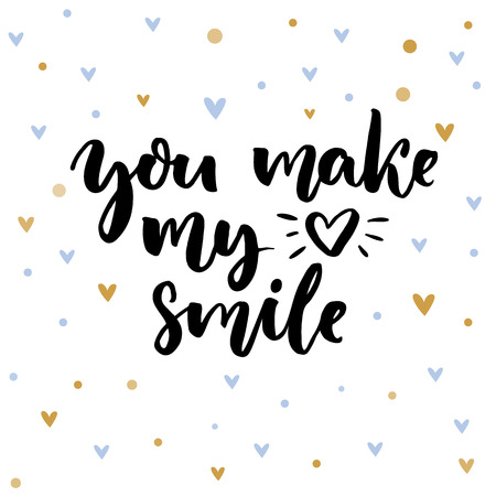 You make my heart smile. Inspirational saying for Valentines day card. Typography on delicate background with blue and golden hearts.