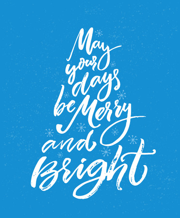 Christmas greeting card with brush calligraphy. White text on blue background