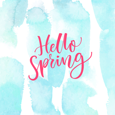 april beautiful: Hello Spring. Modern calligraphy text at blue watercolor texture. Inspirational saying. Spring season greetings.