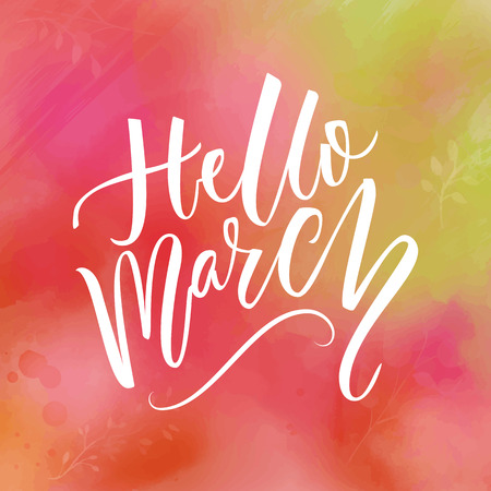 say hello: Hello march text at green and pink watercolor background. Spring greetings. Inspirational design for social media.