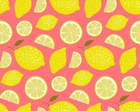 ピンクの背景に黄色のレモン。シームレスなパターン、テクスチャ
