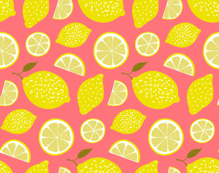 Yellow lemons on pink background. Seamless pattern, texture Vettoriali