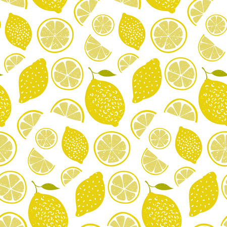 Fresh pattern with lemons, full fruits and slices. Vitamin background, seamless texture Illustration