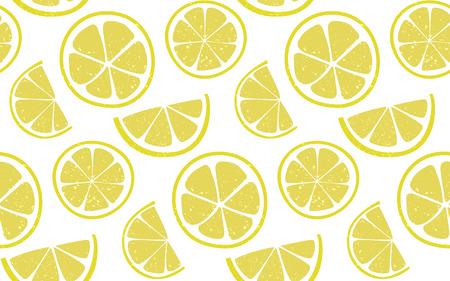 ラウンドと白い背景で半分スライス レモン パターン。新鮮な夏のシームレスな背景。  イラスト・ベクター素材
