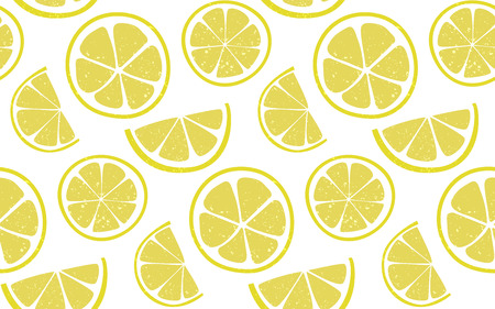 Lemon pattern with round and half slices at white background. Fresh summer seamless background.