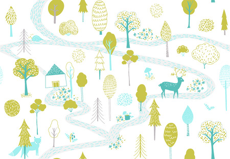 Forest pattern with deer, fox and small house. Seamless texture with cute hand drawn illustrations of trees and animals.