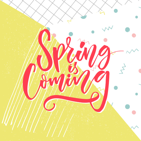Spring is coming text, vector typography at yellow grunge background with hand marks