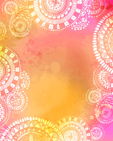 Artistic watercolor texture with white hand drawn mandala doodles frame. Mix of pink. yellow and orange colors. Ilustração
