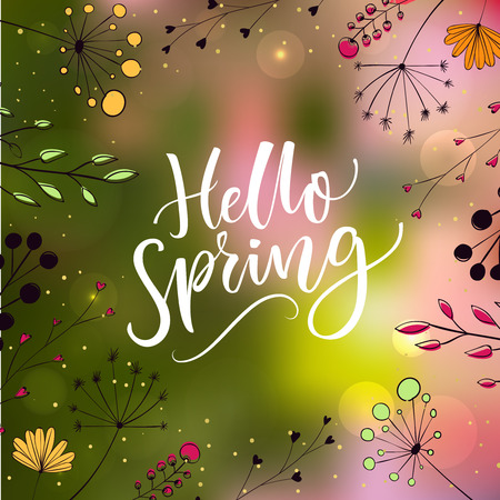 green plants: Hello spring text on blurred green and pink background with lights and hand drawn illustrations of flowers and plants