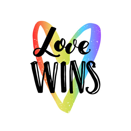 catchword: Love wins. Inspirational quote on rainbow heart, LGBT pride slogan for t-shirt, posters and cards