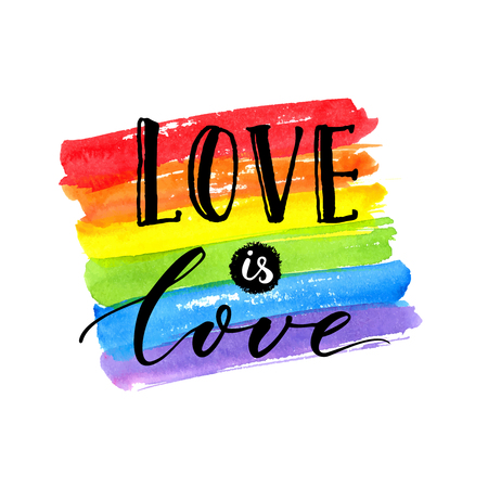 homophobia: Love is love - LGBT pride slogan against homosexual discrimination. Modern calligraphy on rainbow watercolor flag.