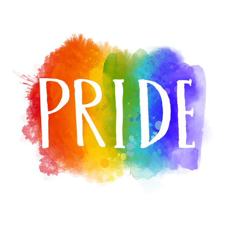 Pride - word on spectrum flag of gay parade. Bright artistic rainbow with hand drawn letters Stockfoto