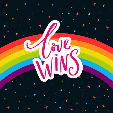 inscriptions: Love wins. Words on rainbow parade flag at dark sky with stars. Gay pride saying for stickers, t-shirts and posters.