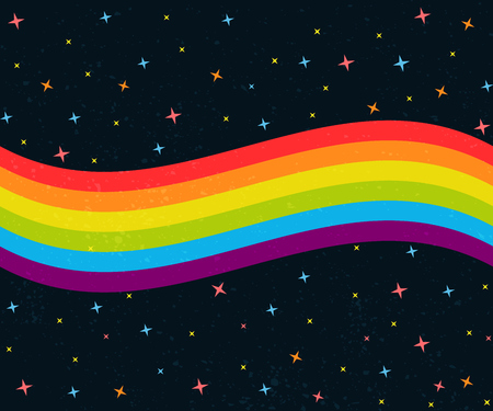 6 colors rainbow wave on dark night sky with stars. Gay pride flag