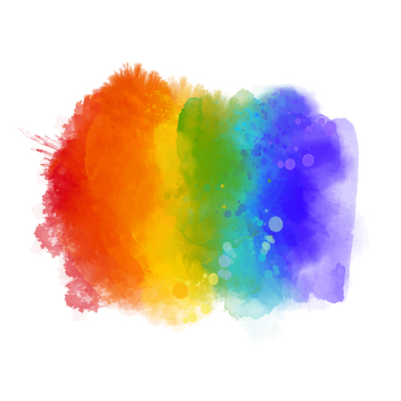 Rainbow paint texture, gay pride symbol. Hand painted strokes isolated on white background. Vettoriali