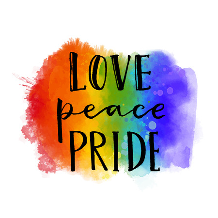 inscriptions: Love, peace, pride. Gay parade slogan handwritten on rainbow watercolor texture. Stock Photo