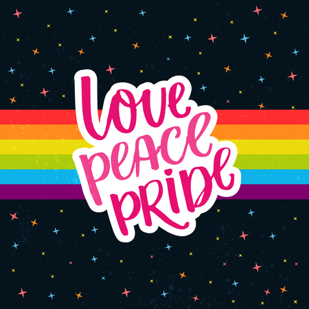 catchword: Love, peace, pride. Words on rainbow parade flag at dark sky with stars. Gay pride saying for stickers, t-shirts and posters. Stock Photo