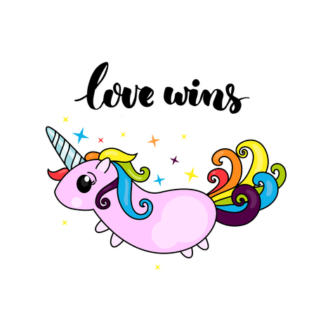 Love wins - lgbt pride slogan and cute unicorn character with rainbow hair. Çizim