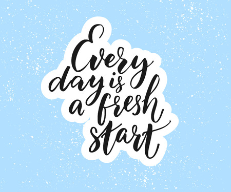 Every day is a fresh start. Inspirational quote on blue background Иллюстрация
