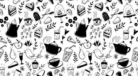 コーヒー、紅茶、デザートのシームレスなパターン。カフェ デザインのための食糧を持つ黒と白の背景  イラスト・ベクター素材