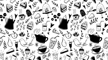 Coffee, tea and desserts seamless pattern. Black and white background with food for cafe design