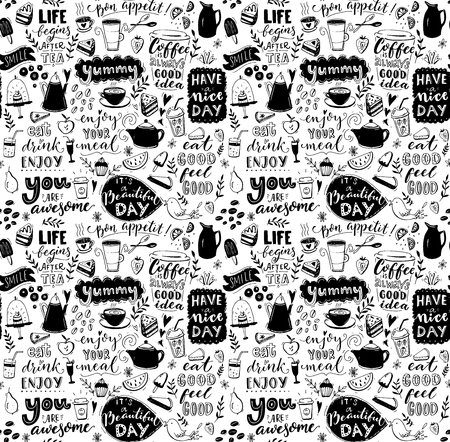 Cafe seamless pattern. Hand drawn tea and coffee pots, desserts and inspirational captions. Menu cover design, wallpaper stencil. Black and white typography background.