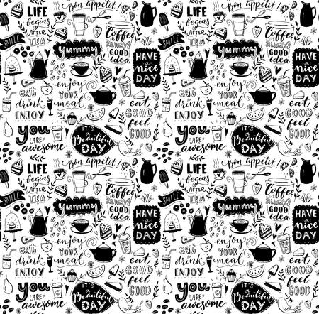 Modèle sans couture de café. Thé et cafetières dessinés à la main, desserts et légendes inspirantes. Conception de la couverture de menu, pochoir de papier peint. Fond de typographie noir et blanc.